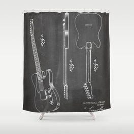 Electric Guitar Patent - Guitar Player Art - Black Chalkboard Shower Curtain