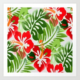 Hawaiian Flowered Shirt Pattern Red Green Art Print