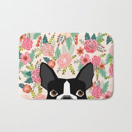Boston Terrier floral dog head cute pet portrait gifts for boston terriers must haves Bath Mat