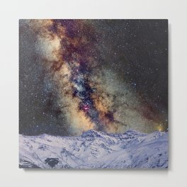 The star Antares, Scorpius and Sagitariuss over the hight mountains. The milky way. Metal Print