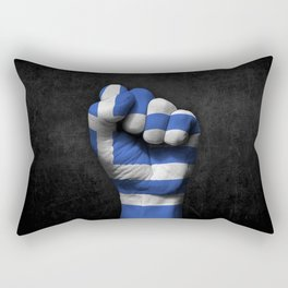 Greek Flag on a Raised Clenched Fist Rectangular Pillow