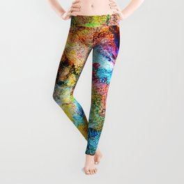 abstract drawing by hand oil paints. background, texture Leggings