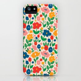 Retro Floral Realness iPhone Case