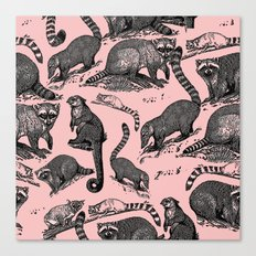 Vintage Woodland Forest Racoons & Critters - Pink Canvas Print