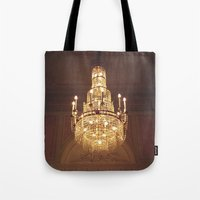 chandelier Tote Bags featuring chandelier by oanauciuf