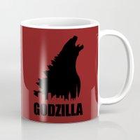 godzilla Mugs featuring Godzilla by Nick Kemp