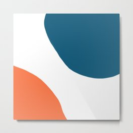 Meeting. Colorful Minimalist Abstract in Orange, Blue, and White Metal Print