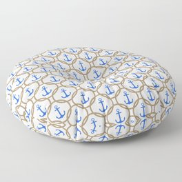 Seamless nautical pattern with blue anchors and rope on white background Floor Pillow