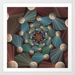 Graphic Design, Modern Fractal Art Pattern Art Print