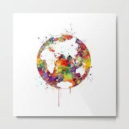 Planet Earth Art Gift Colorful Watercolor Art Environment Nature Art Gifts Metal Print