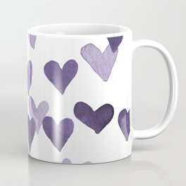Valentine's Day Watercolor Hearts - ultraviolet Coffee Mug