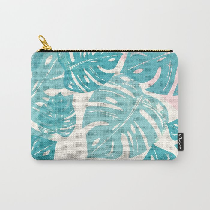Linocut Monstera Rosy Carry-All Pouch