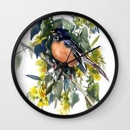American Robin on Linden Tree Wall Clock