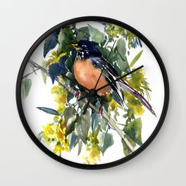 American Robin on Linden Tree, Deep blue Cottage Woodland style design Wall Clock