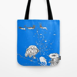 Two Tailed Duck and Jellyfish Royal Brilliant Blue Tote Bag