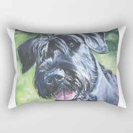 Giant Schnauzer Dog Portrait Art from an original painting by L.A.Shepard Rectangular Pillow