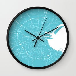 Dublin Street Map Turquoise and White Wall Clock