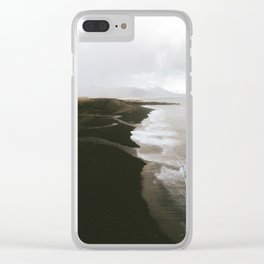 Moody black sand beach in Iceland - Landscape Photography Clear iPhone Case
