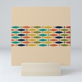 Midcentury Modern Multicolor Fish Stripe Pattern in Olive, Mustard, Orange, Teal, Beige Mini Art Print