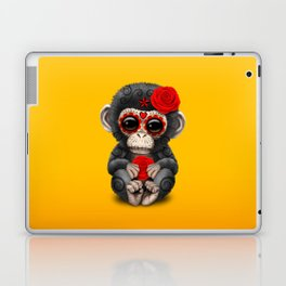 Red and Yellow Day of the Dead Sugar Skull Baby Chimp Laptop & iPad Skin
