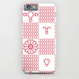 Christmas (cherry check) candy cane knit seamless repeat pattern in pink, red and white iPhone Case