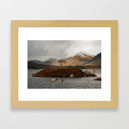 Lone Tree and Dusting of Snow in Mountains of Scotland Framed Art Print