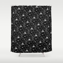 Cryptid Pattern: White Lines Shower Curtain