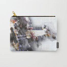 Person Playing Electric Bass Guitar in watercolor style Carry-All Pouch
