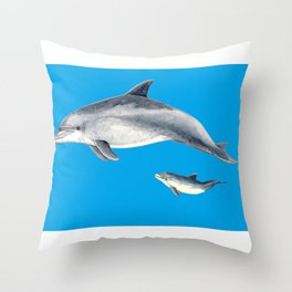 Bottlenose dolphin blue background Throw Pillow