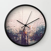 dc Wall Clocks featuring DC Rain by elle moss