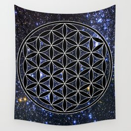 Flower of life in the space Wall Tapestry