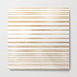 Elegant white gold striped geometric pattern Metal Print