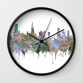 Chicago Skyline Pastel Khaki Purple Teal Watercolor Chicago Art USA Decor Art Travel Wall Clock
