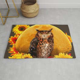 NIGHT OWL MOON SUNFLOWER ART Rug