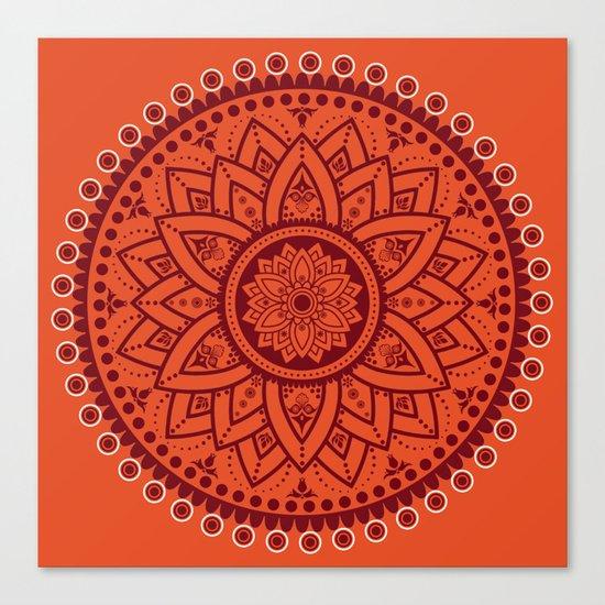 Cinnamon Spice Circle Flower Mandala Canvas Print