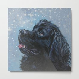 Newfoundland Dog Art Portrait from an original painting by L.A.Shepard Metal Print