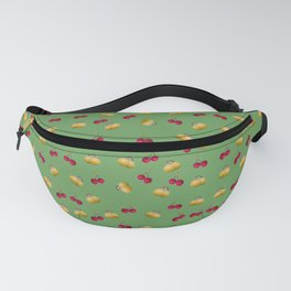 cherries and plums on a green background Fanny Pack