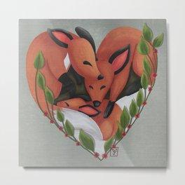 Family Foxes Metal Print