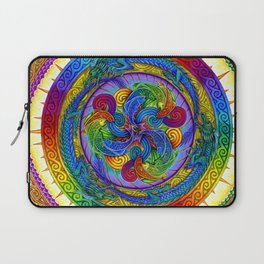 Psychedelic Dragons Rainbow Spirals Mandala Laptop Sleeve