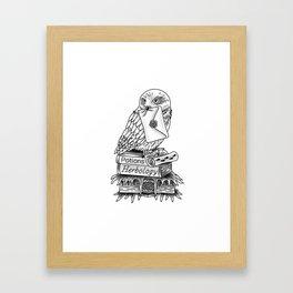 Hedwig On Books Framed Art Print