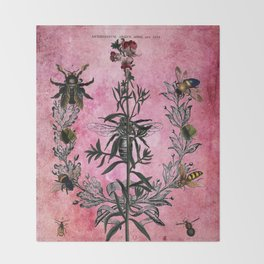 Vintage Bees with Toadflax Botanical illustration collage Throw Blanket