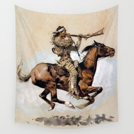 "Frederic Remington ""Buffalo Hunter Spitting Bullets"" Western Art Wall Tapestry"