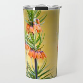 Orange lily flowers Fritillaria imperialis Travel Mug