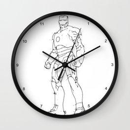 Iron man white background handmade drawing Wall Clock