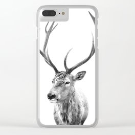Deer Print, Black and white photo print Clear iPhone Case
