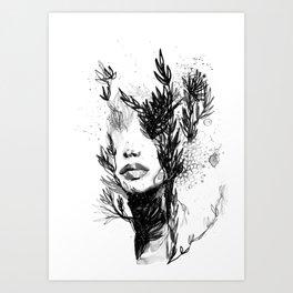 BLACK N WHITE WOMEN ABSTRACT FACE-LOVE Art Print