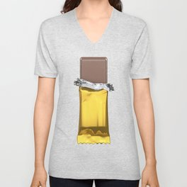 Chocolate candy bar in gold wrapper Unisex V-Neck