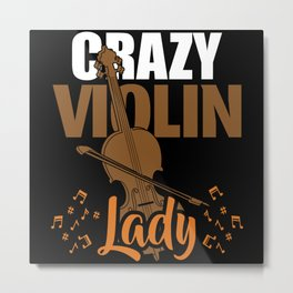 Crazy Violin Lady Metal Print