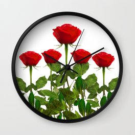 ORIGINAL GARDEN DESIGN OF RED ROSES ON WHITE Wall Clock