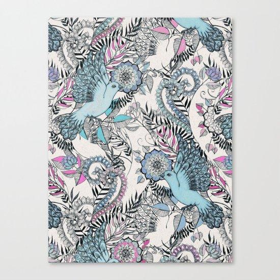 Flight of Fancy - pink, teal, cream Canvas Print